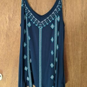 Blue embroidered tank